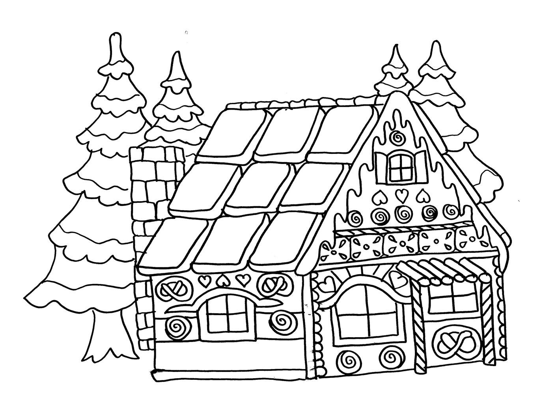 coloriage à dessiner maison avec garage