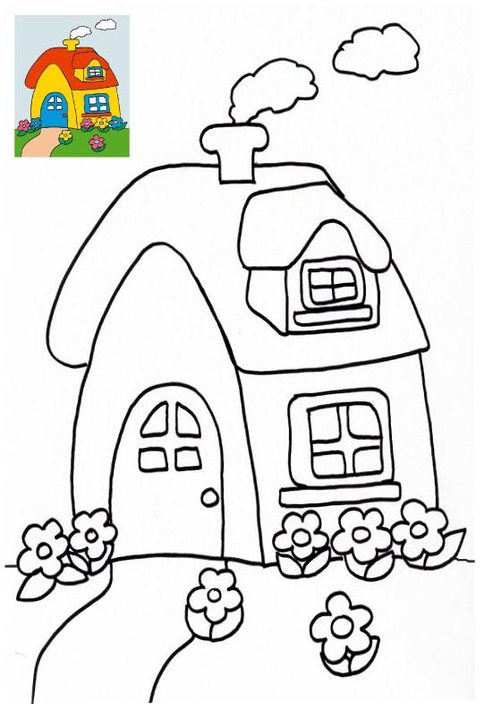 dessin à colorier maison du pere noel gratuit