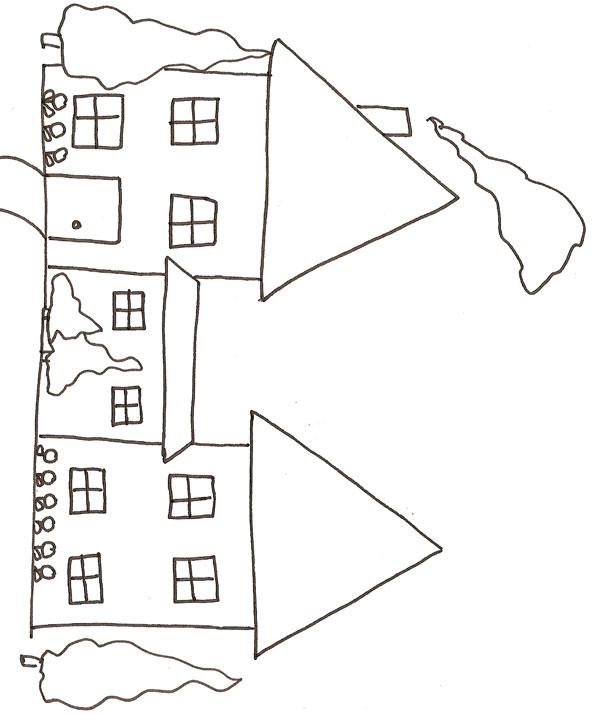 coloriage à dessiner maison magique