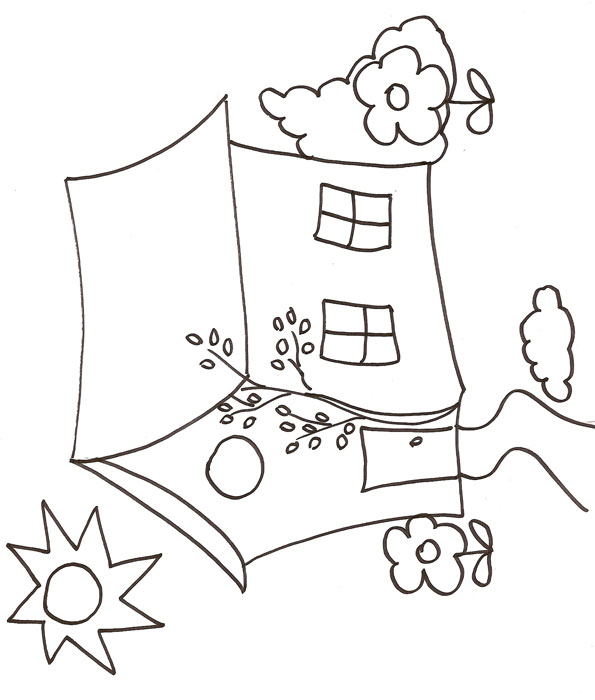 dessin à colorier maison playmobil