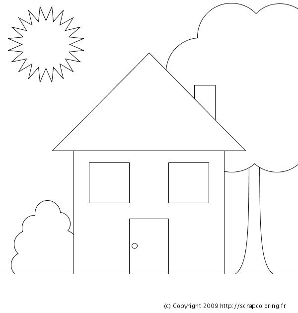coloriage à dessiner maison campagne