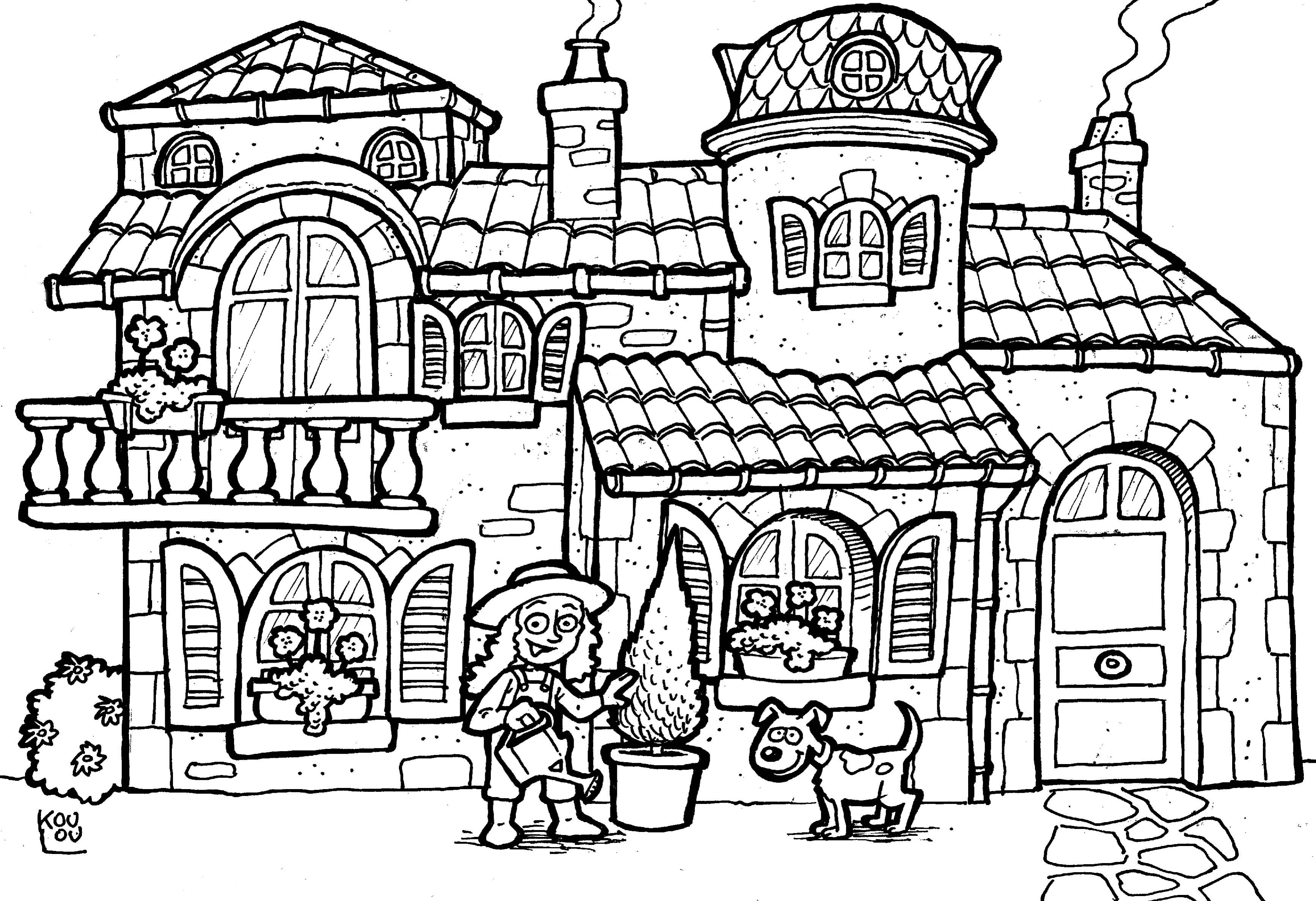 coloriage maison des 7 nains