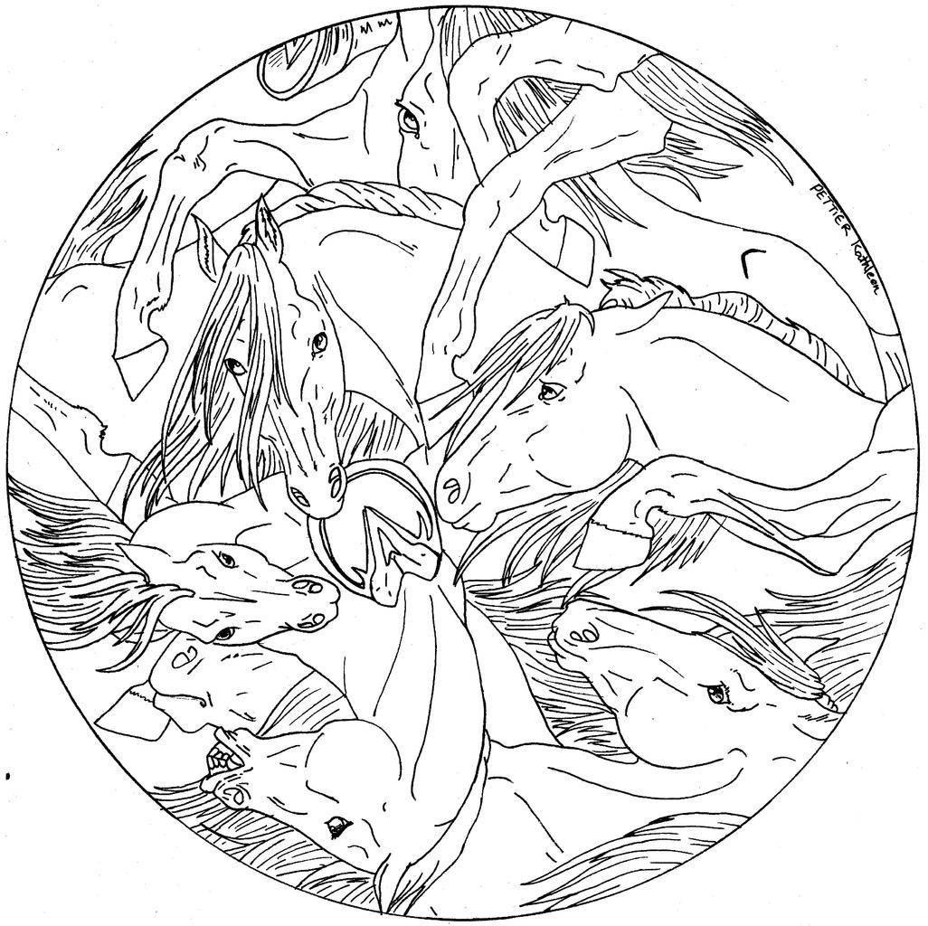 20 dessins de coloriage mandala cheval à imprimer