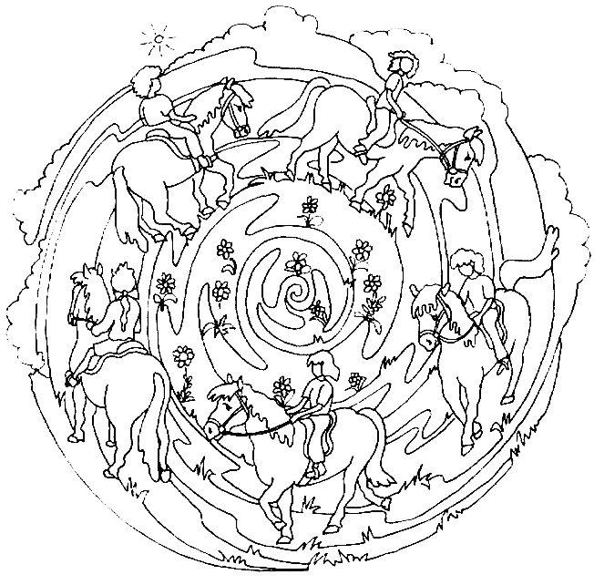 20 dessins de coloriage mandala cheval imprimer - Mandala cheval ...