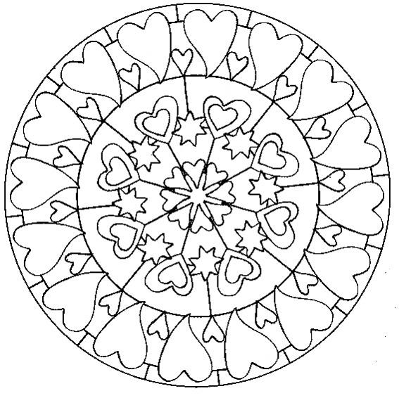 18 dessins de coloriage mandala coeur imprimer - Coloriage de rosace ...