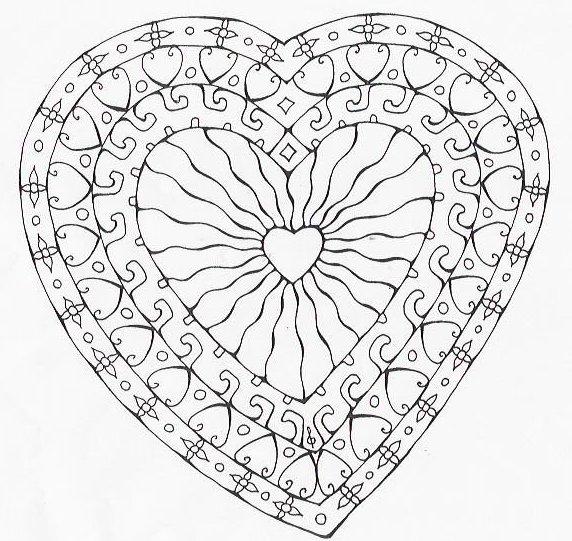 18 dessins de coloriage mandala coeur imprimer - Dessins de mandala ...