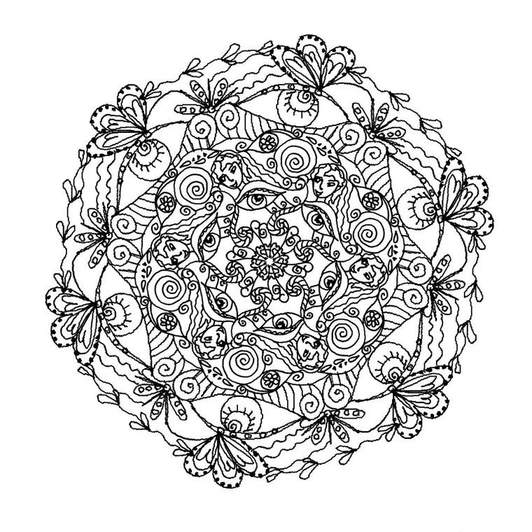 141 dessins de coloriage mandala imprimer - Mandala beau et difficile ...