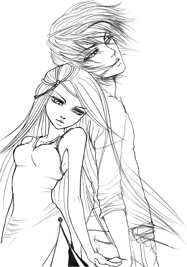 17 dessins de coloriage Manga Amoureux à imprimer