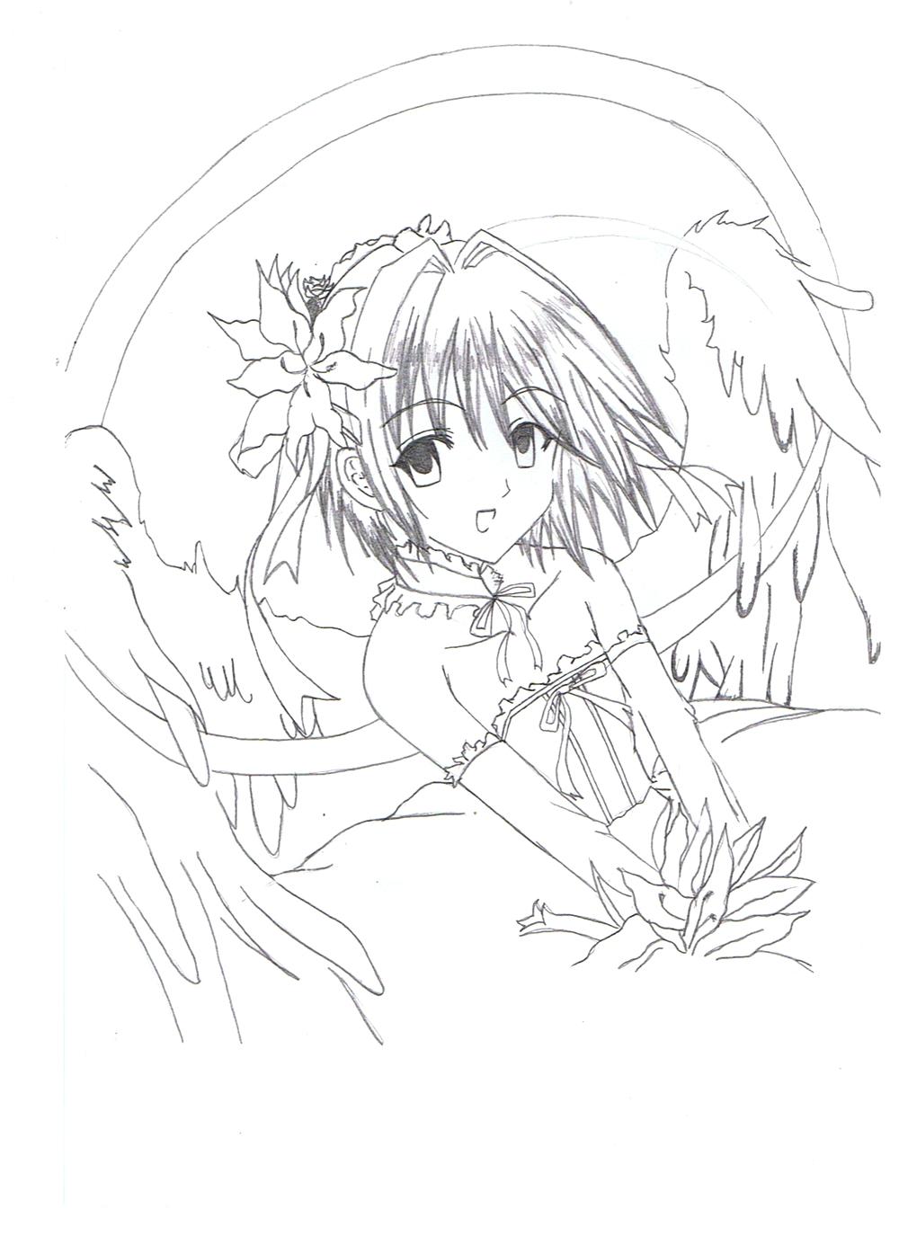 Image coloriage ange manga - Manga dessin a imprimer ...