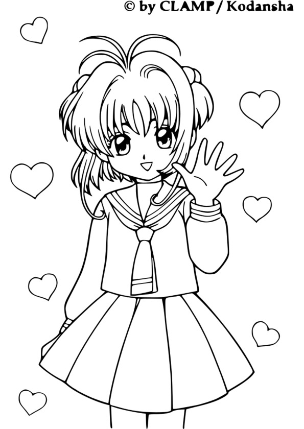coloriage manga de fille