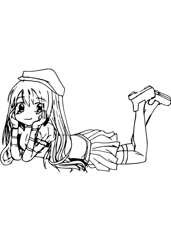 Coloriage de manga negima - Coloriage manga difficile ...