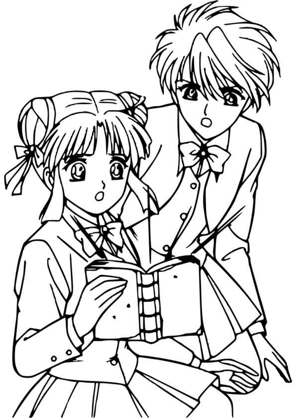 Coloriage Manga Fille Et Garcon.Dessin A Colorier Manga Garcon