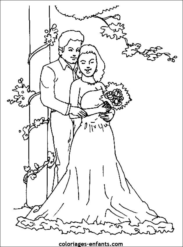 dessin à colorier jeux mariage