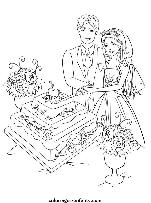 dessin à colorier mariage princesse imprimer