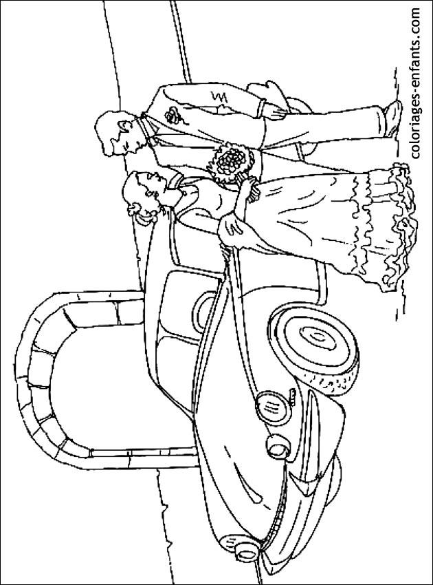 dessin à colorier mariage disney