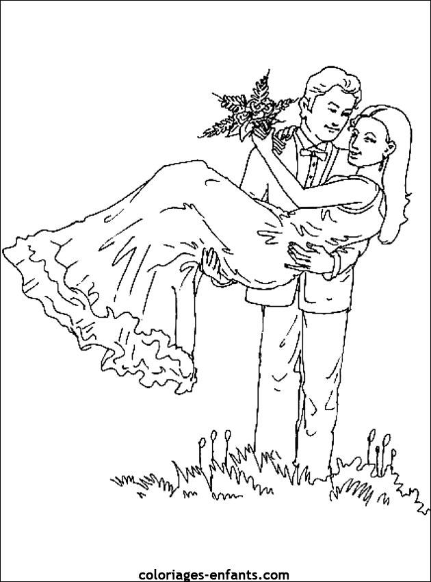 set coloriage mariage
