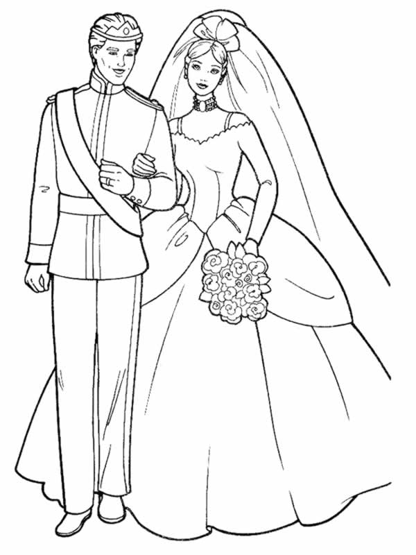 Coloriage Princesse Mariage.Coloriage A Dessiner Mariage De Princesse
