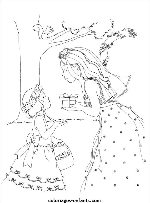 coloriage mariage princesse