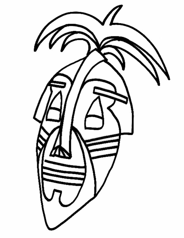 dessin à colorier masque carnaval maternelle