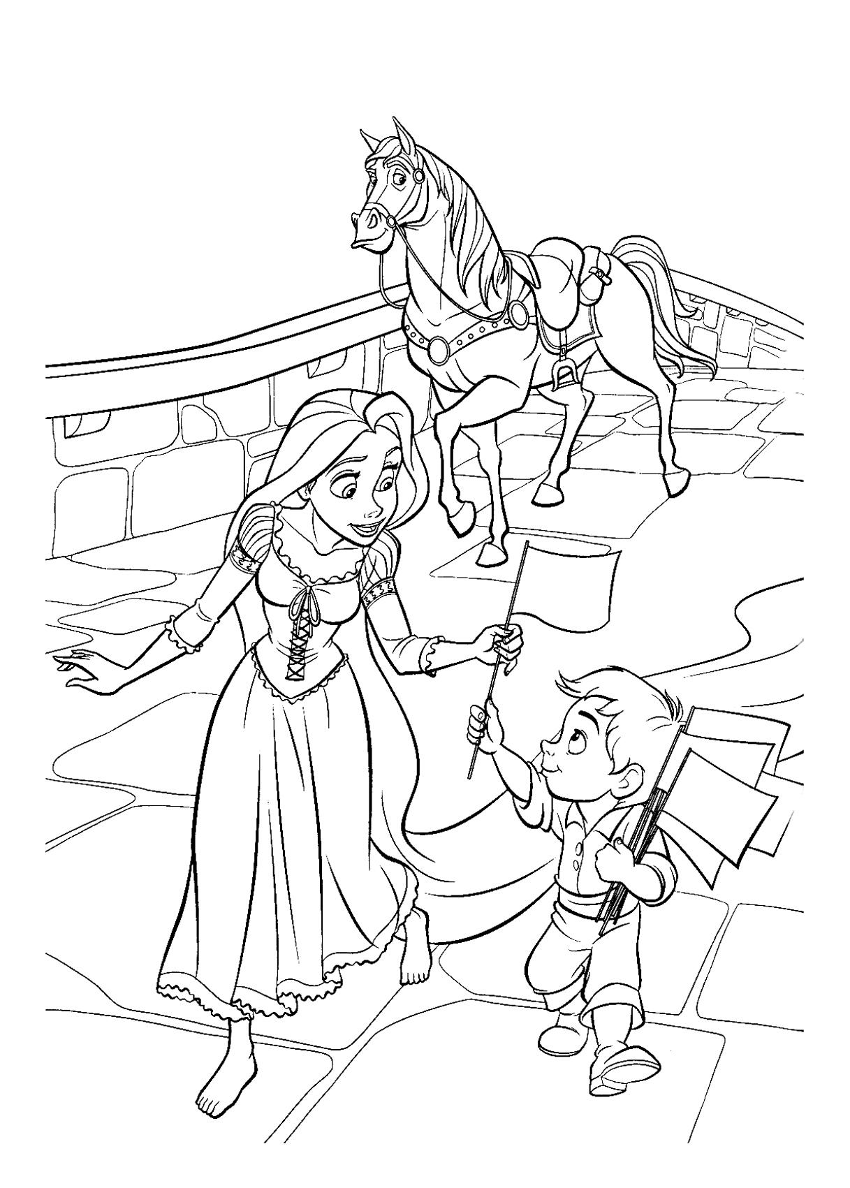 Dessin colorier cheval maximus - Maximus cheval raiponce ...