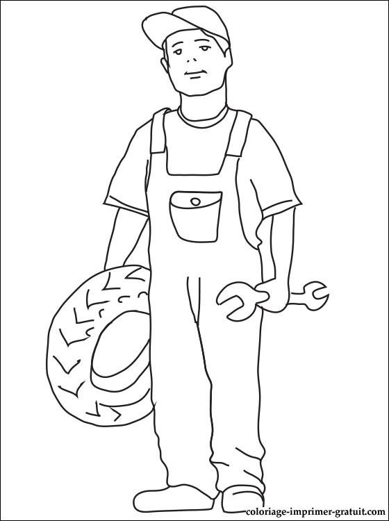 dessin à colorier de mecanicien