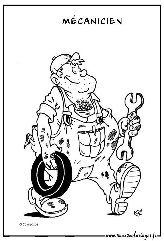 coloriage à dessiner mécanicien