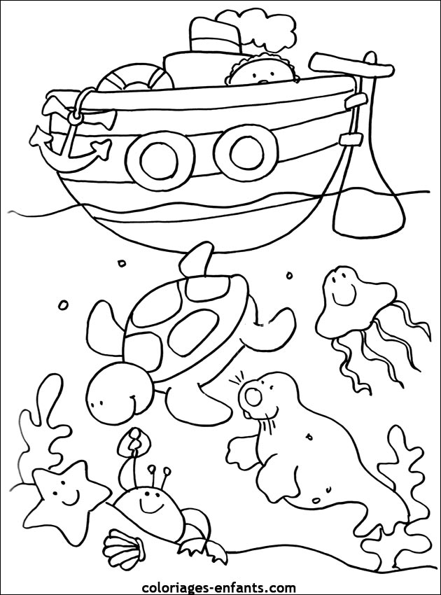 coloriage mer petite section