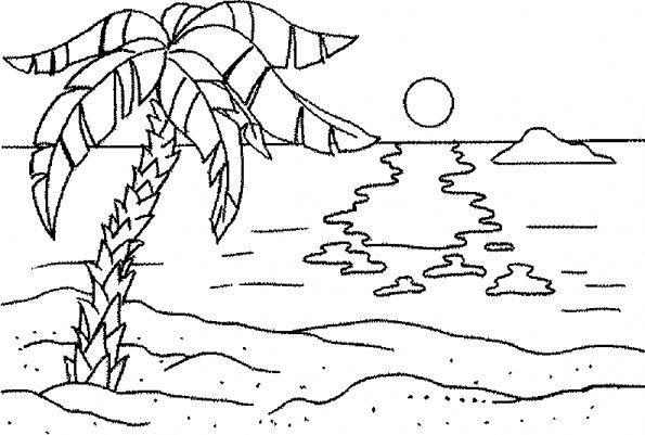 coloriage à dessiner de paysage de mer a imprimer gratuit