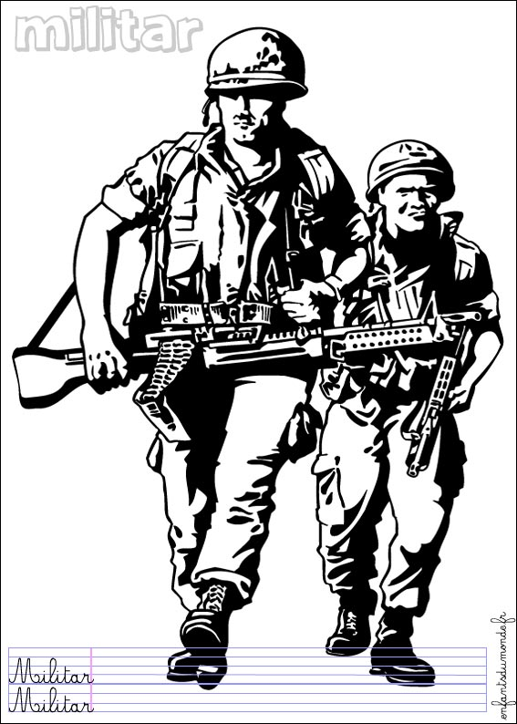 vrac coloriage à dessiner militaire