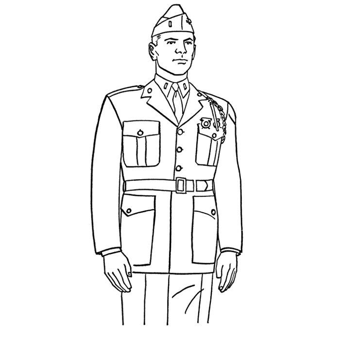 dessin à colorier militaire gratuit