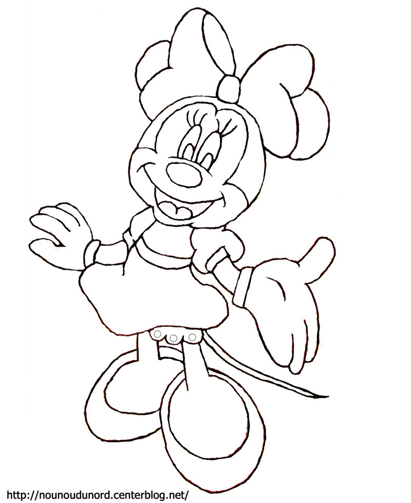 dessin à colorier de minnie et mickey