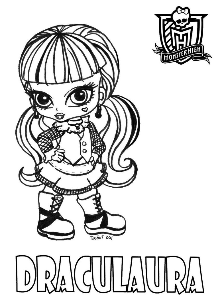 coloriage monster high purrsephone et meowlody