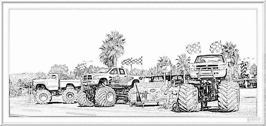 dessin monster truck à imprimer