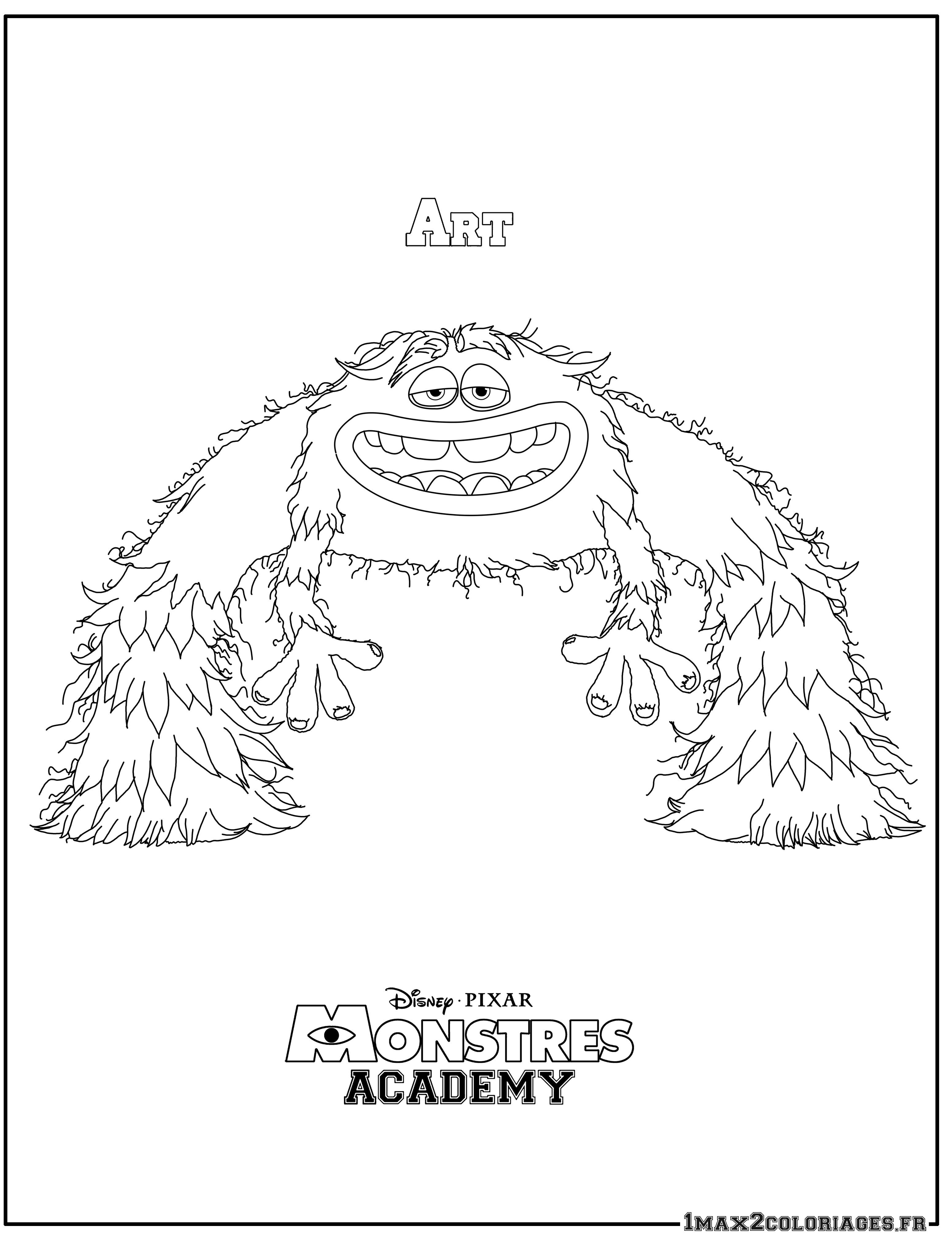 coloriage à dessiner monstre academy à imprimer