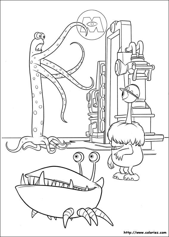 dessin à colorier monstre academy gratuit