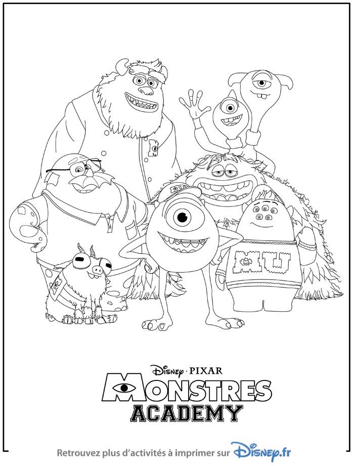 dessin à colorier gratuit monstres academy