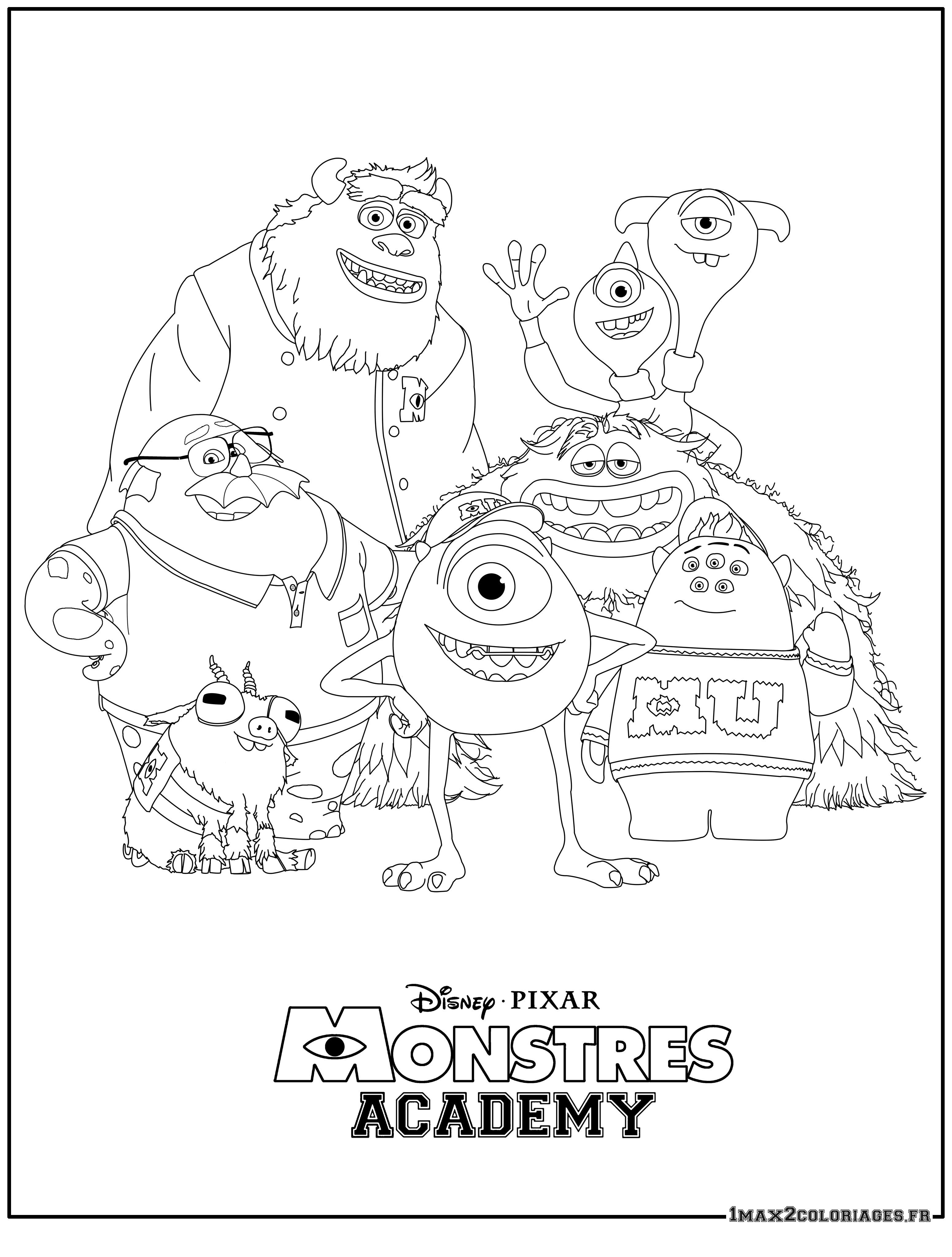 121 dessins de coloriage Monstres Academy à imprimer