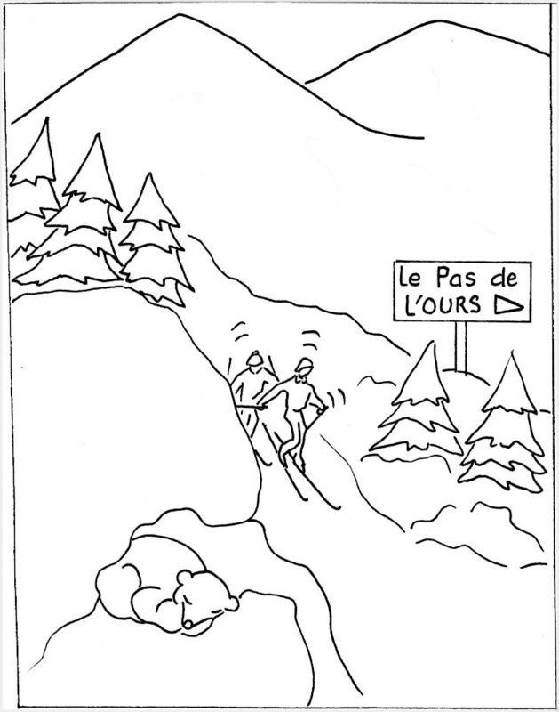 Colorier la montagne - Dessin de chalet de montagne ...
