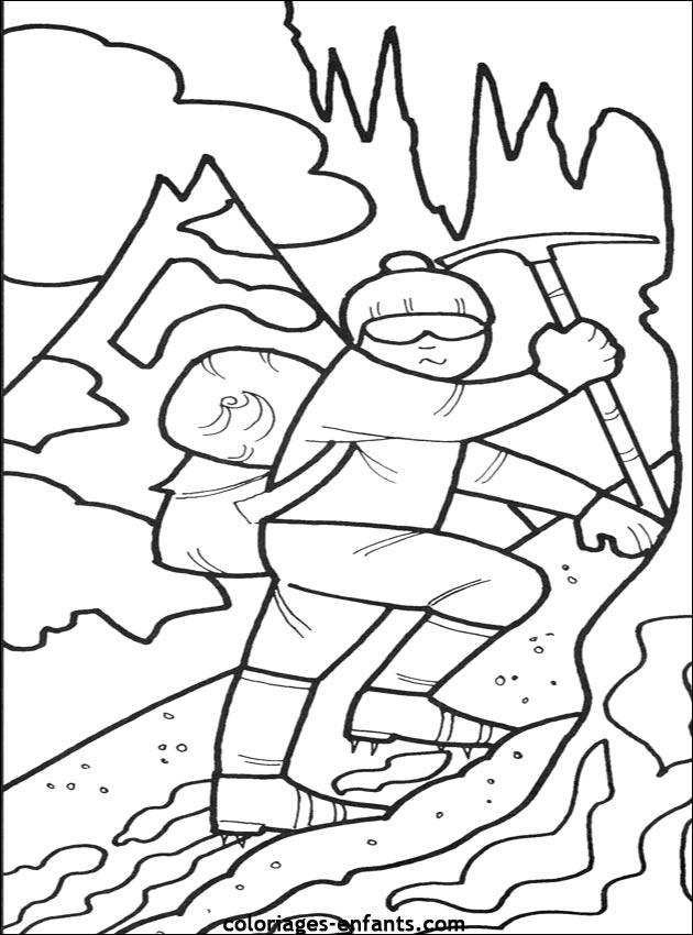 coloriage à dessiner chalet montagne imprimer