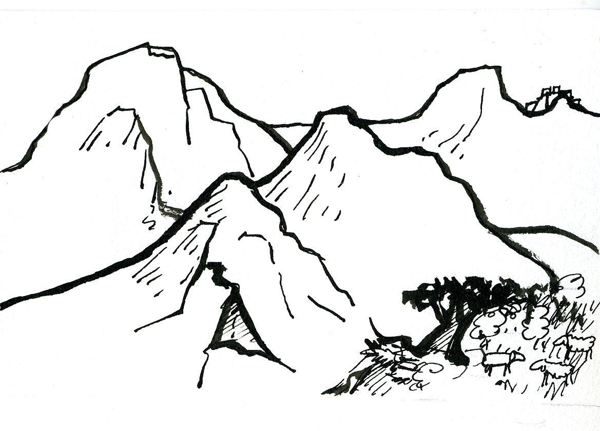 coloriage  dessiner montagne ski