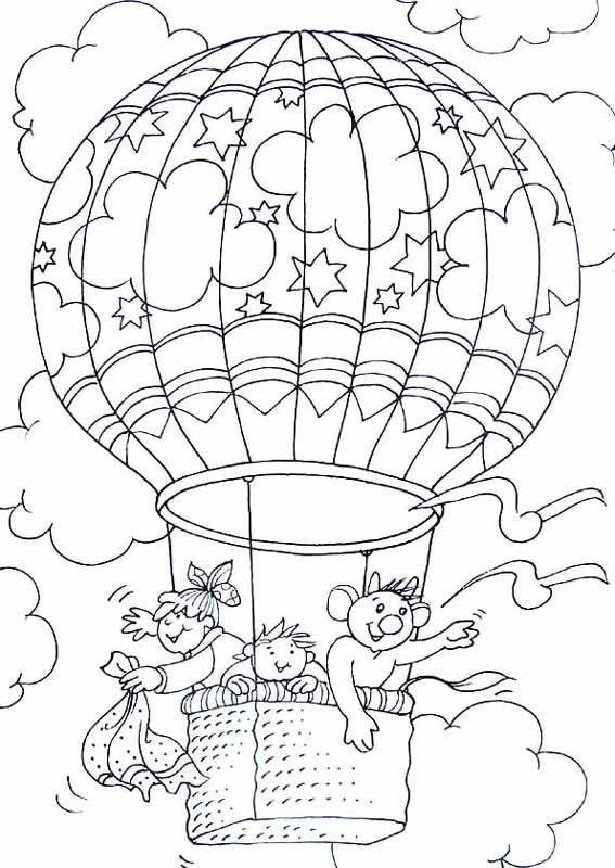 dessin à colorier montgolfiere