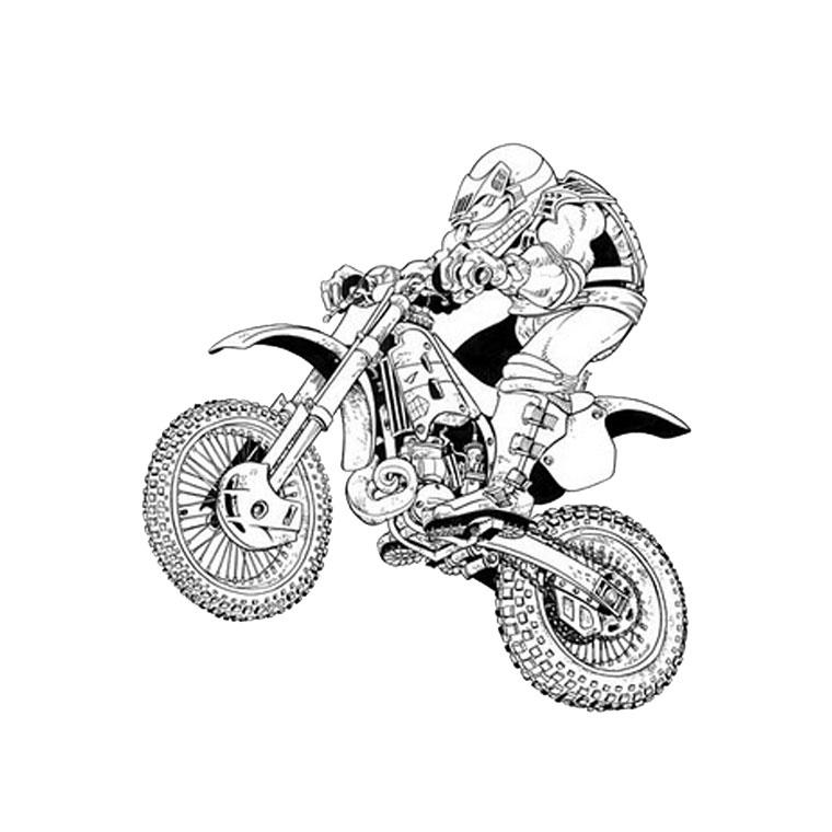 dessin à colorier moto format a4