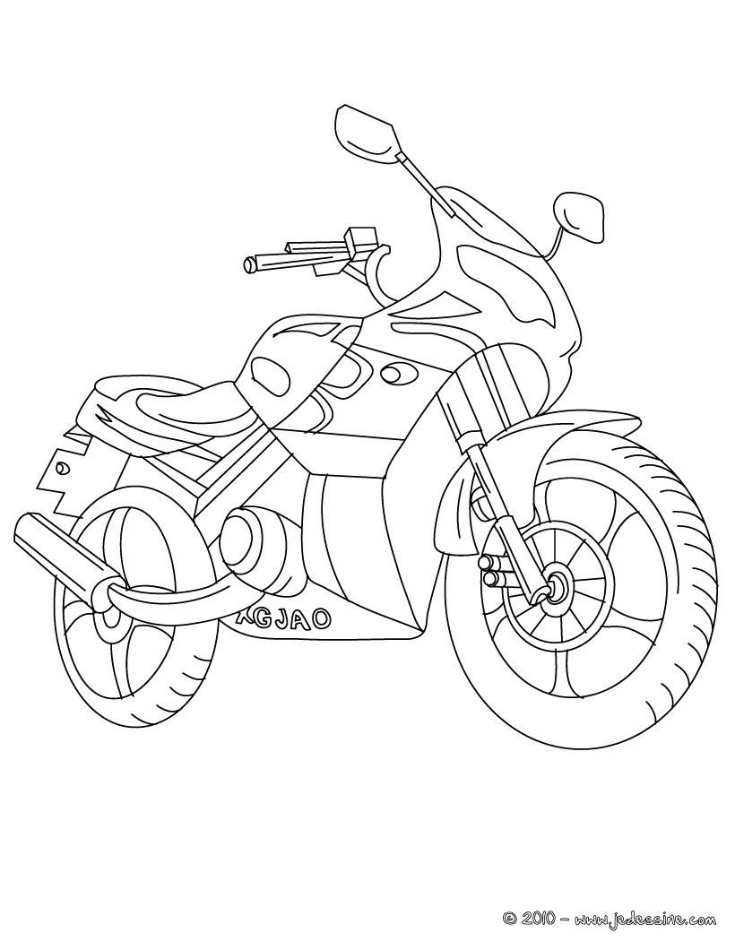 coloriage à dessiner motocyclette