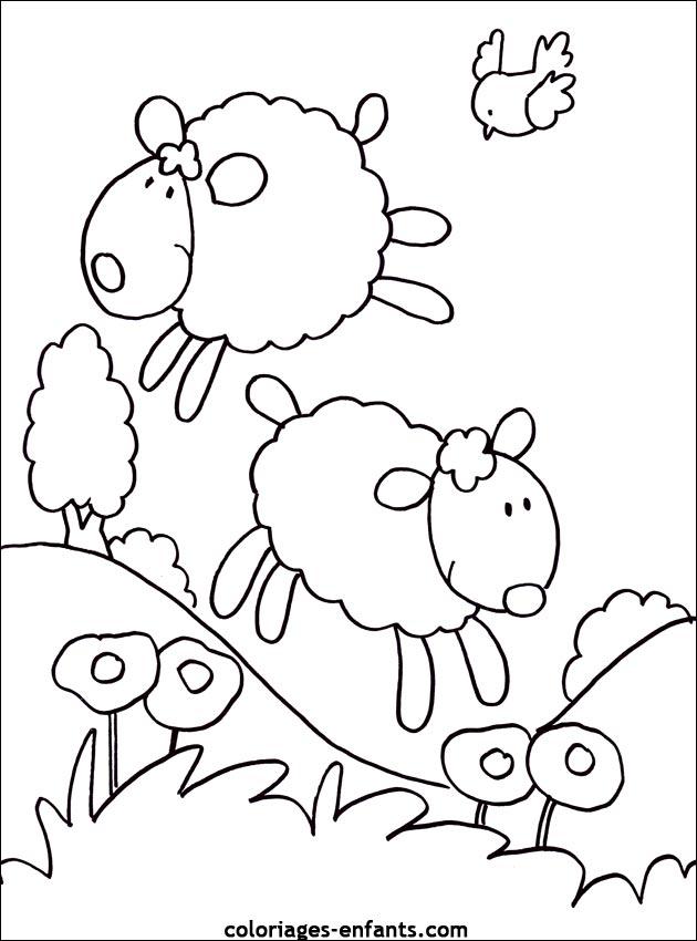 Coloriage mouton et berger - Image mouton dessin ...