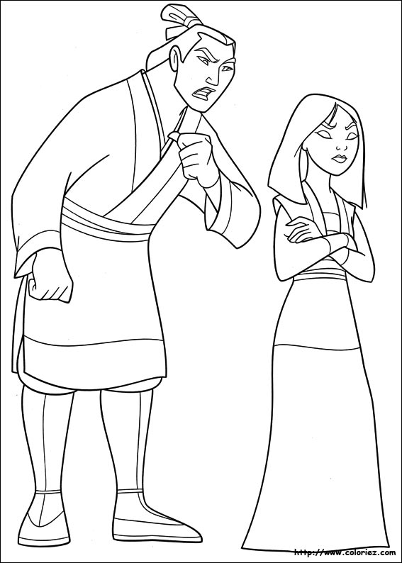 jeu de coloriage � dessiner de mulan