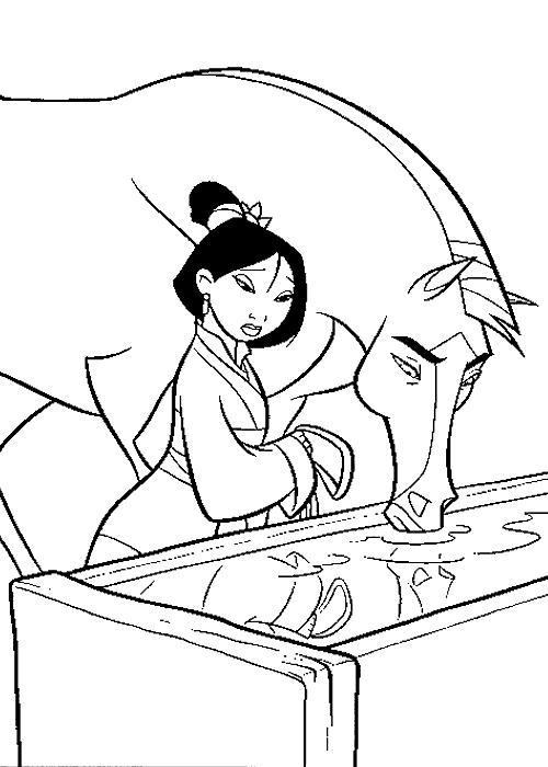 coloriage à dessiner a imprimer mulan gratuit