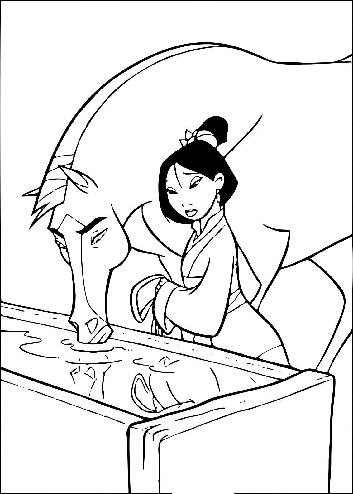 coloriage à dessiner dragon mulan