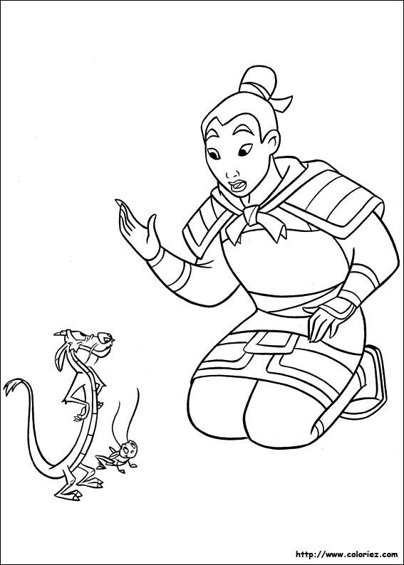 dessin à colorier mulan gratuit