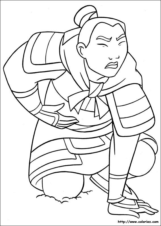 dessin à colorier mulan imprimer gratuit