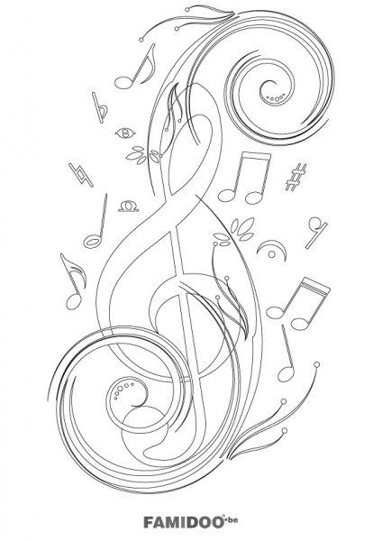 coloriage à dessiner thème musique